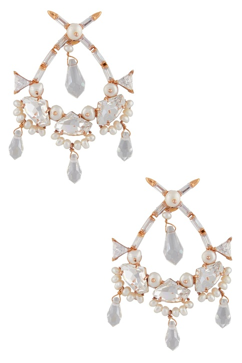 Statement earrings with drop crystals