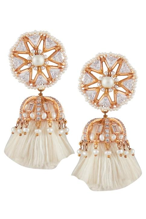 Tassel earrings encrusted with crystals