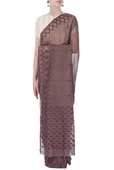 White cord stripes linen sari blouse