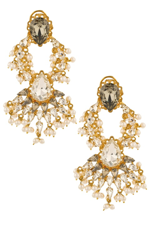 Stone embedded drop royal twist earrings