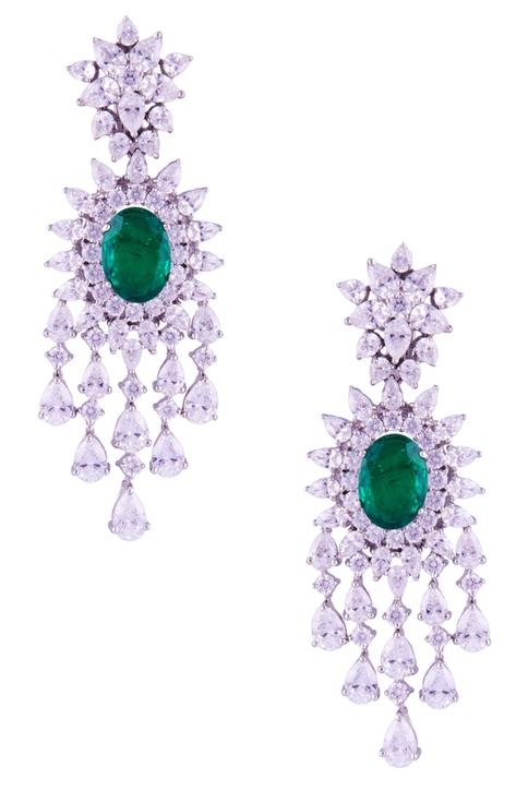 Marquise & oval set stone long earrings