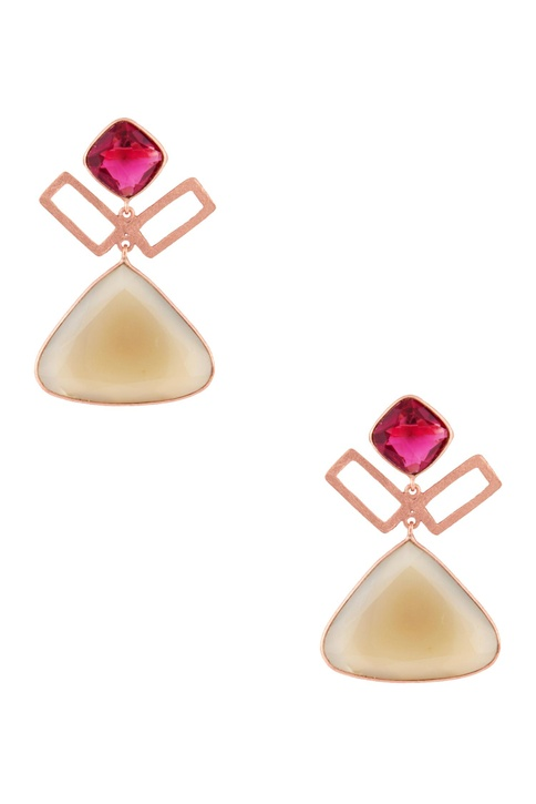 Rose gold plated quartz earrings
