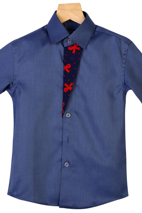 Bow Print Overflap Collared Shirt