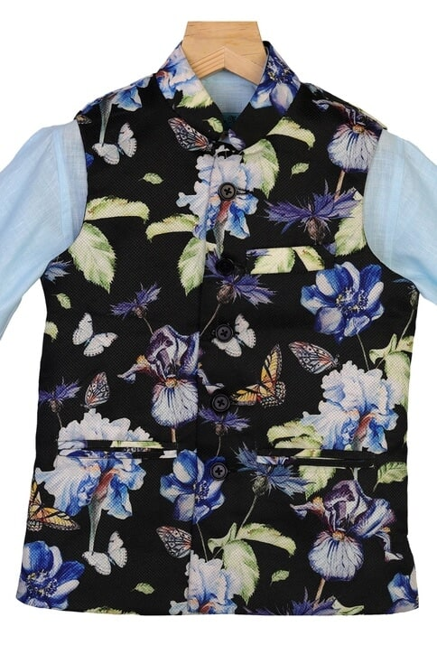 Floral Print Nehru Jacket With Shirt
