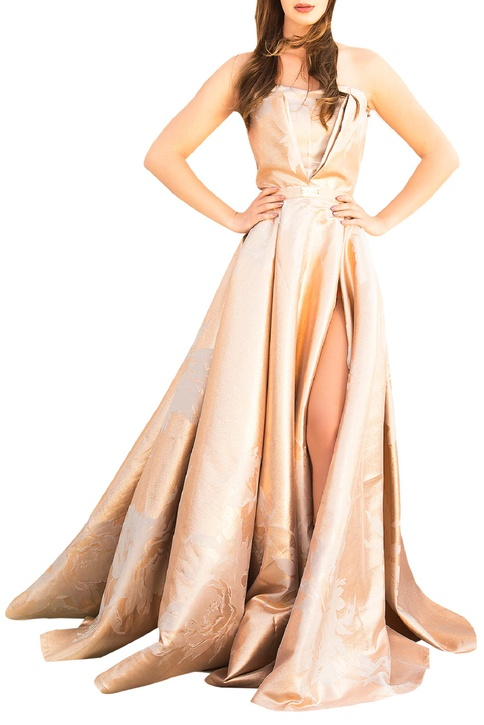 Beige-gold brocade tube gown