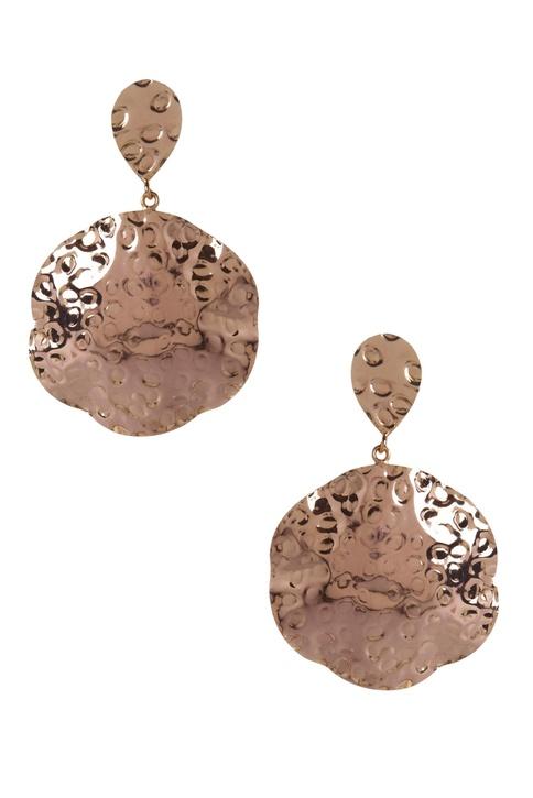 Beaten effect circular earrings