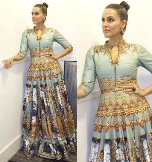 Neha Dhupia in aza designer in Falguni and Shane Peacock