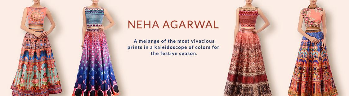 neha agarwal designer festive wear collection of lehenga and dresses at aza. Black Bedroom Furniture Sets. Home Design Ideas