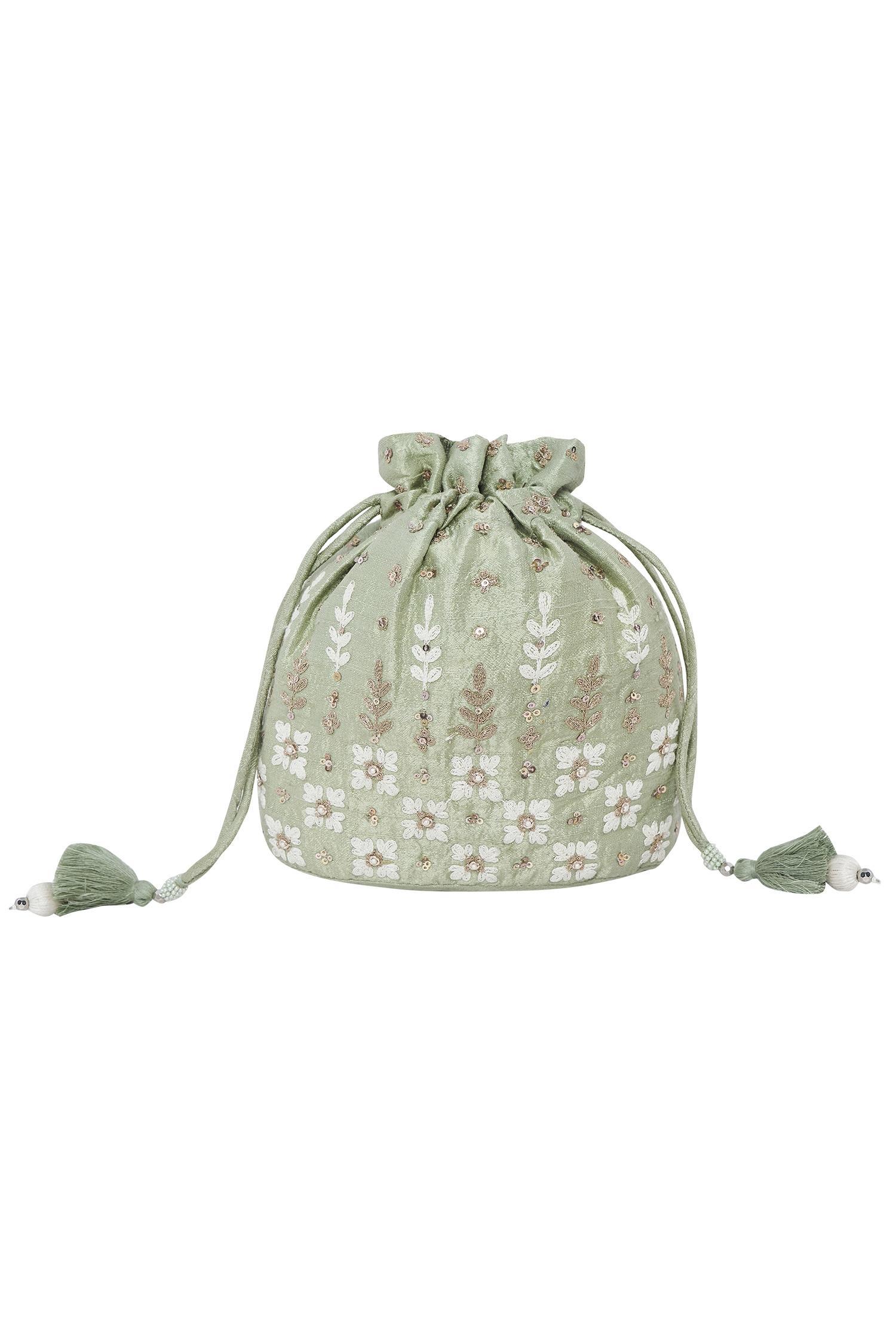 Sage Embroidered Potli bag