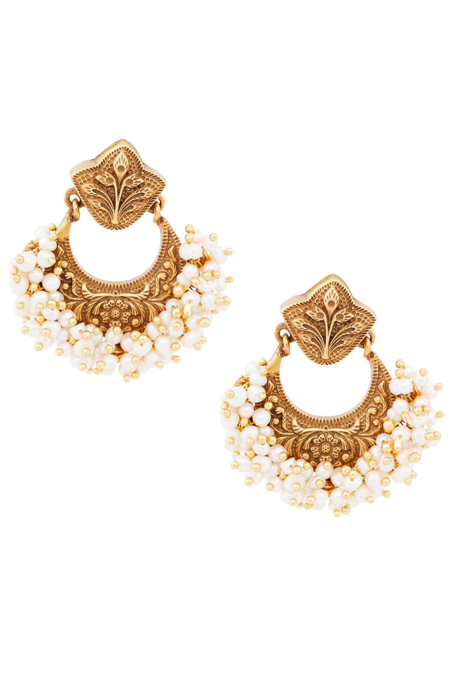 Architecture Inspired Chandbaali Temple Earrings