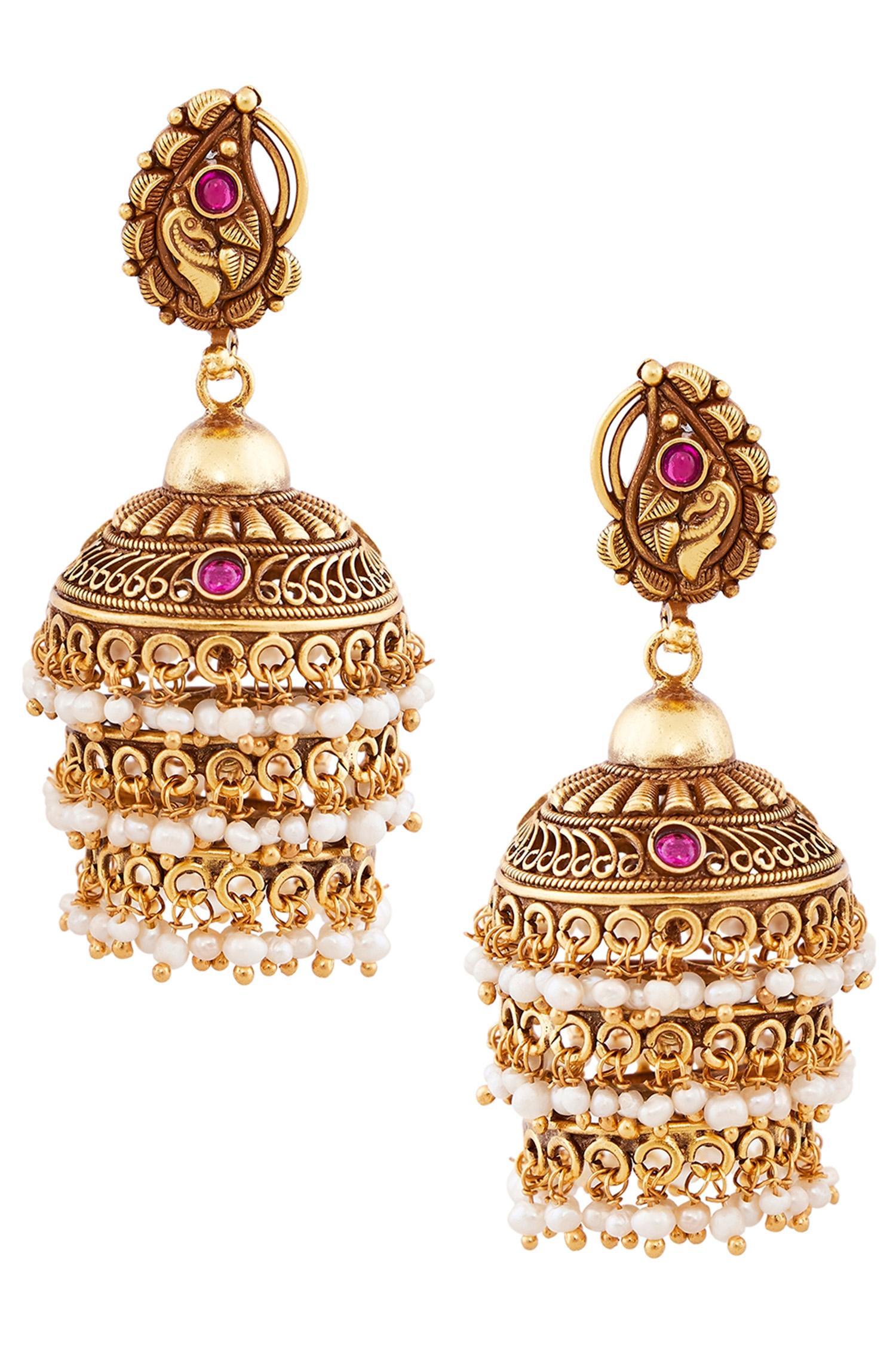 Filigree Architecture Inspired Temple Jhumki Earrings