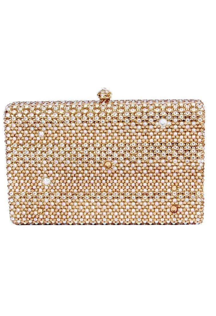 Crystal CraftChampagne gold rectangular clutch