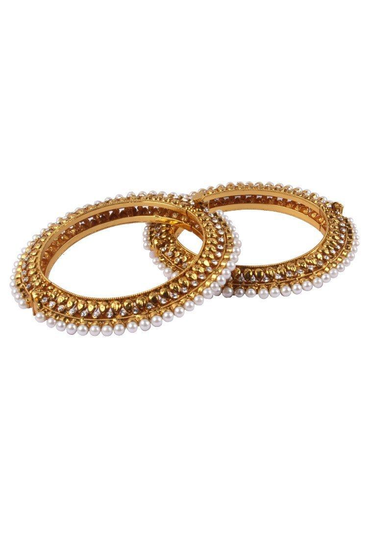 BansriGold plated pearl bangles with dimante