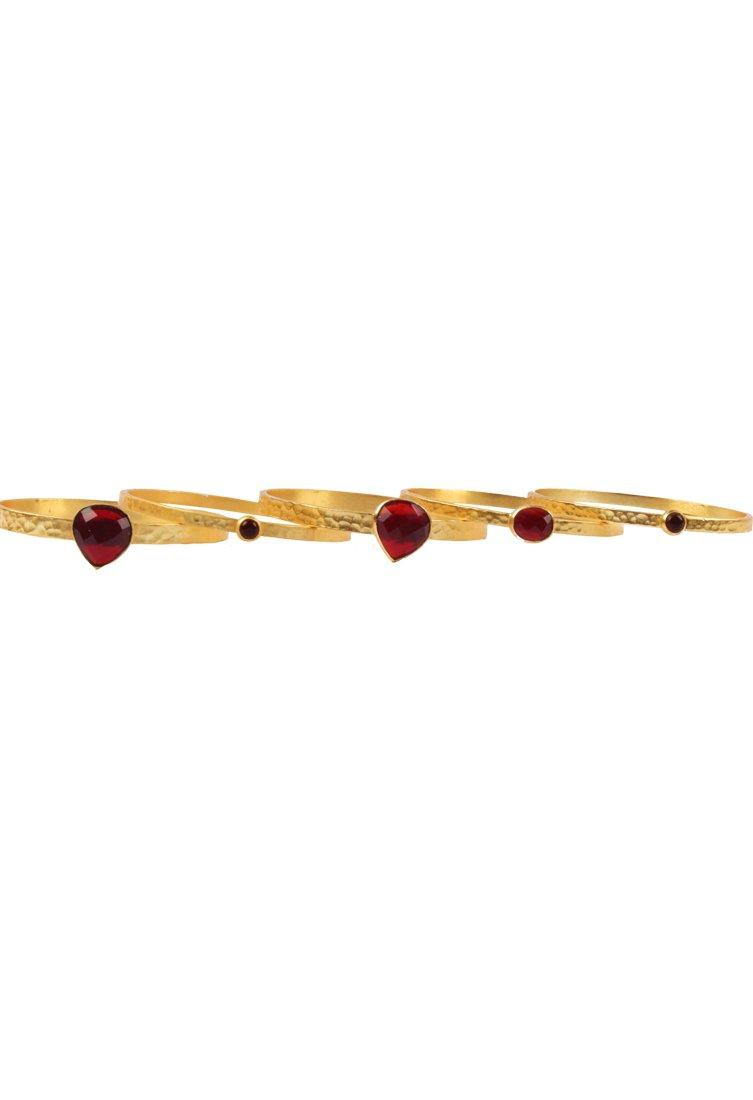 BansriGold plated bangles with ruby quartz