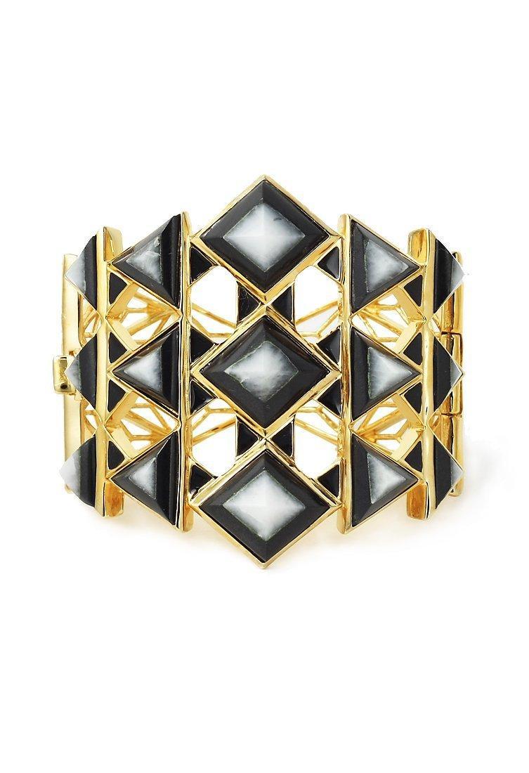 IsharyaBlack pyramid quartz hinge cuff