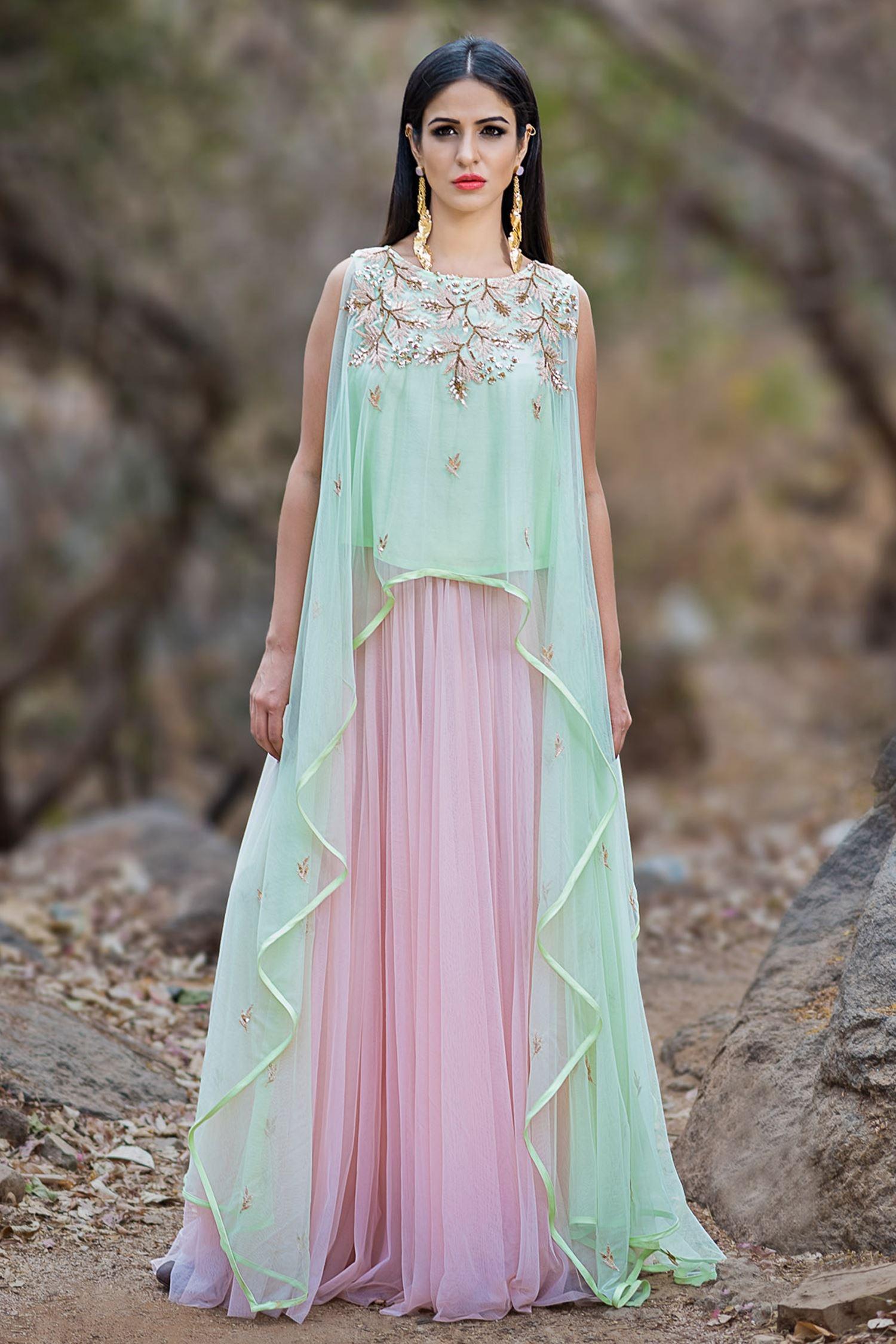 Buy Mint green asymmetric top & pastel pink lehenga by Prathyusha ...