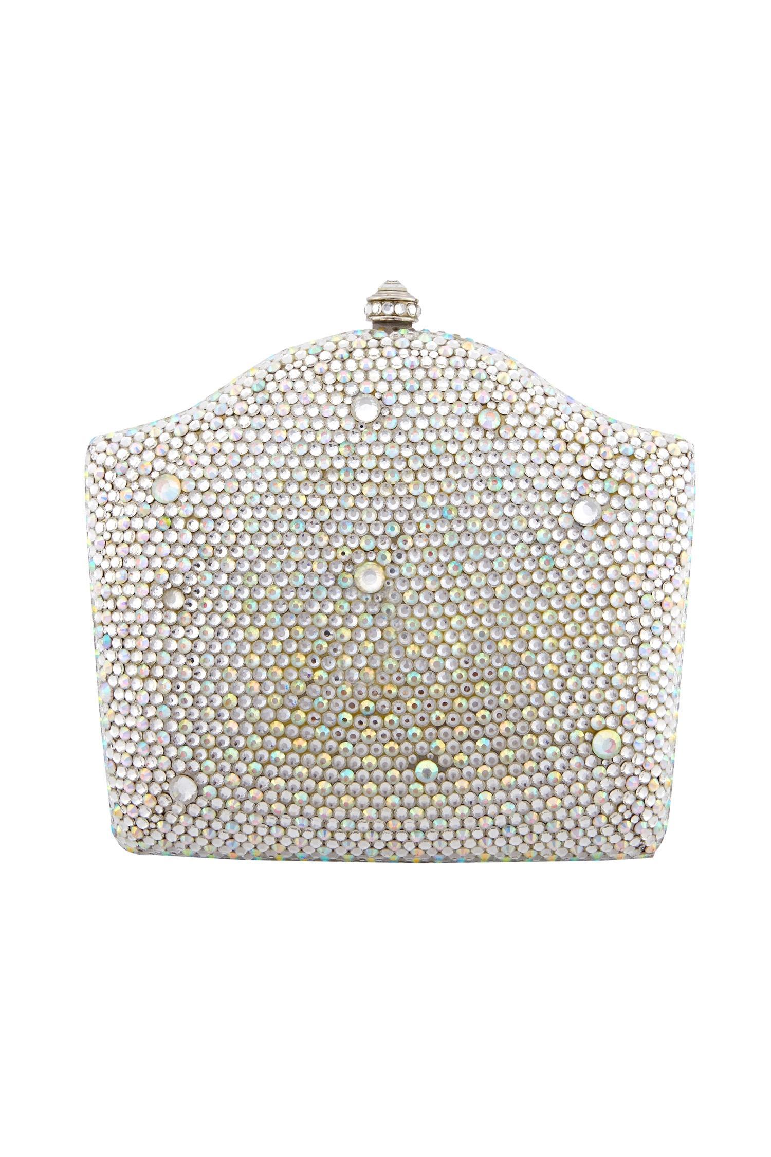 Crystal CraftWhite studded box clutch