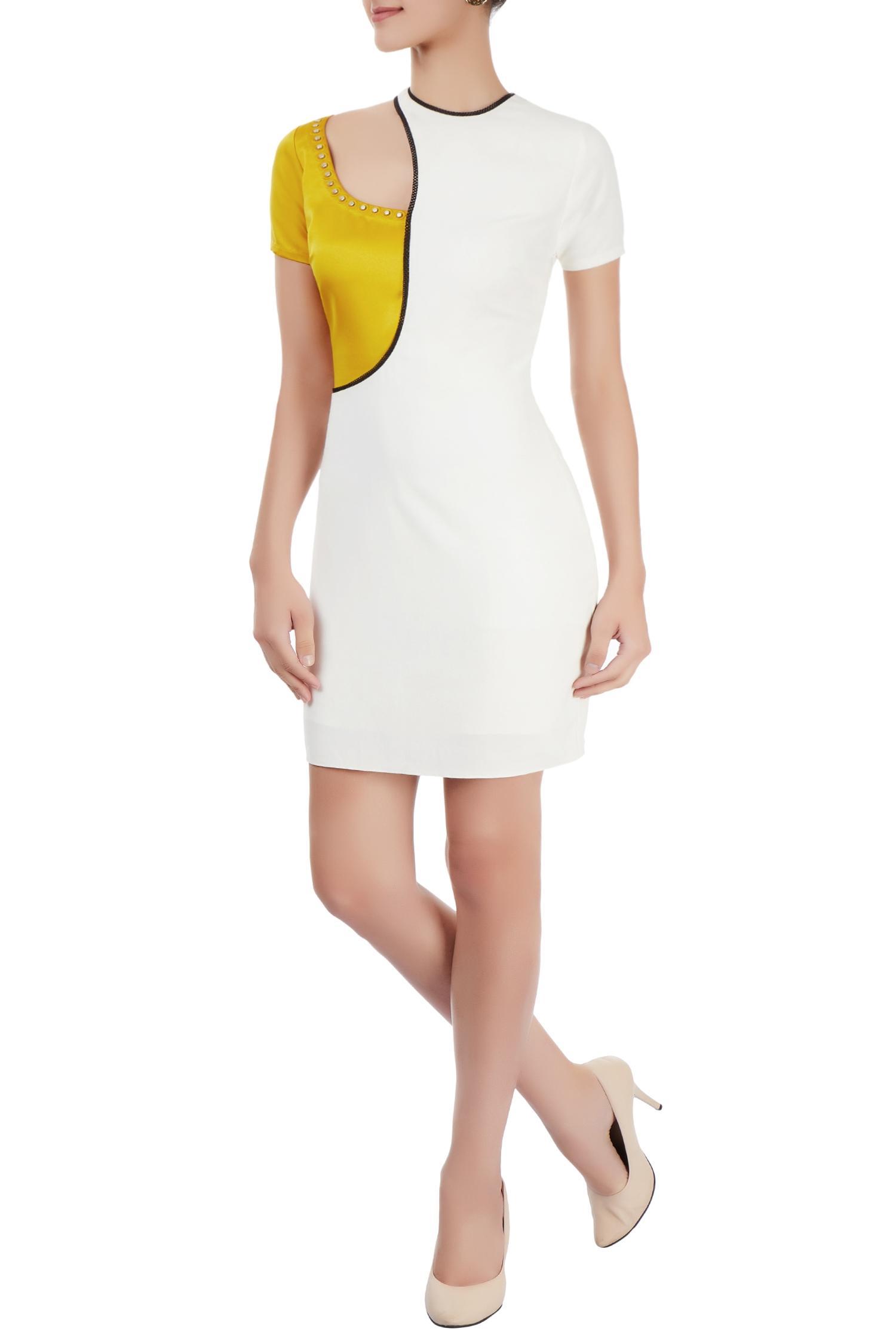 Buy Off-white & canary yellow dress by Babita Malkani at Aza Fashions