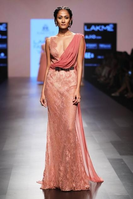 Buy Cognac lace sari ball gown by AGT by AMITGT at Aza Fashions