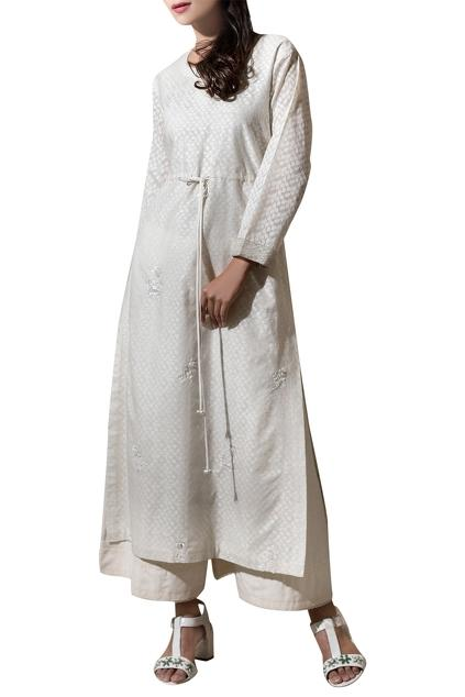 Ivory chanderi ribbon hand embroidered kurta with pants by
