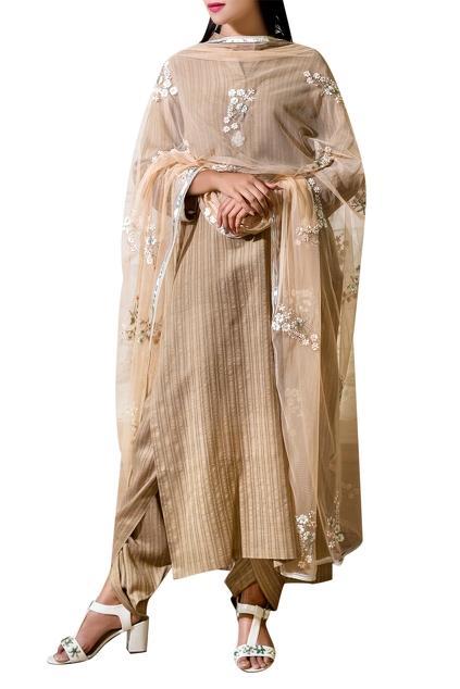 Buy dark beige ribbon flower hand embroidered kurta set by