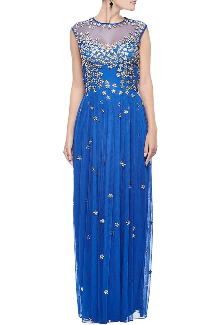 Buy Cerulean & gold floral embellished gown by Huemn at Aza Fashions