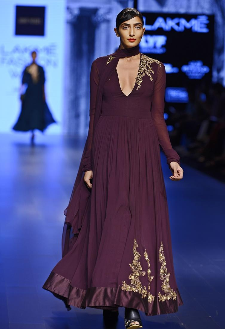 Iranian style aubergine dress