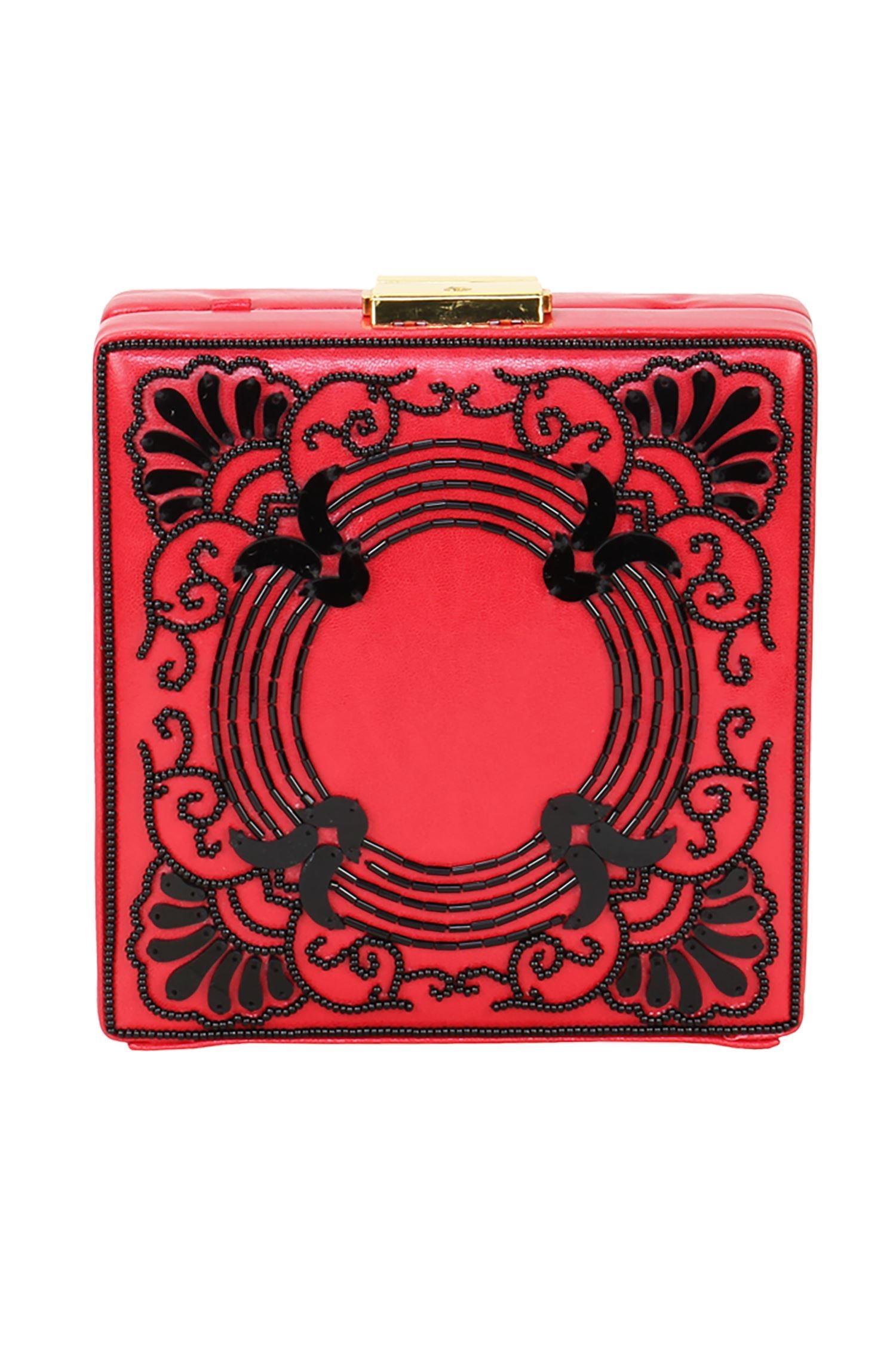 RossoyukiRed & black japanese beadwork embellished clutch