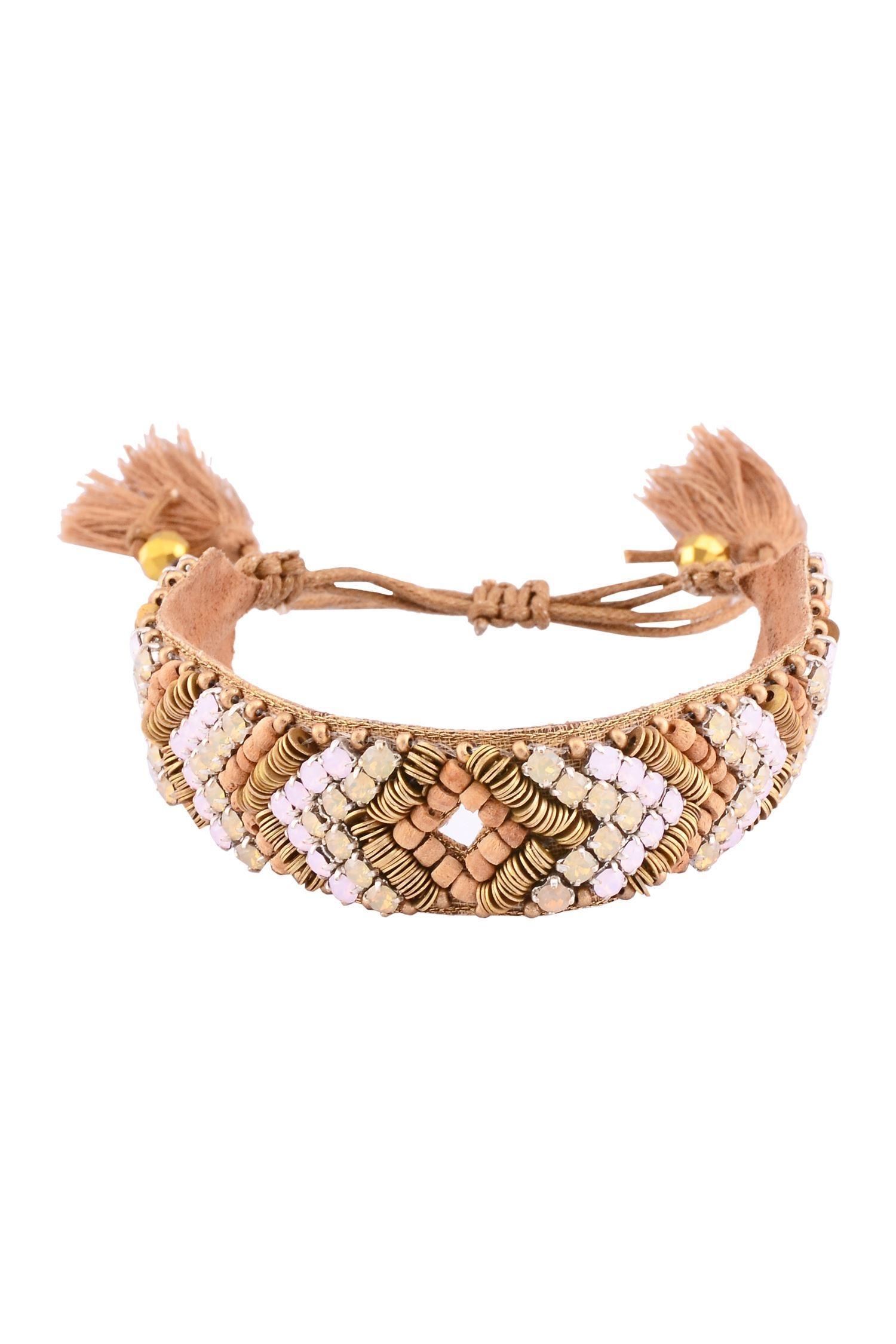 Deepa GurnaniRose pink, gold metal & white crystal bracelet