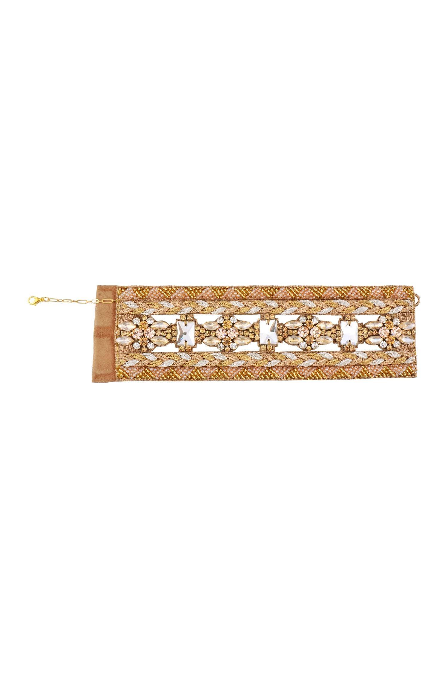 Deepa GurnaniMetallic gold, silver & copper crystal bracelet