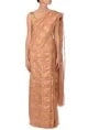 Anavila Peach & gold zari checked linen sari