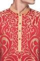Red & beige gold applique work kurta