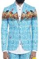 Mr. Ajay Kumar - MenBlue wave print blazer