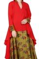 Nikasha Coral red kurta with olive green skirt
