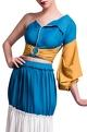 Anome Blue & mustard yellow top & layered skirt