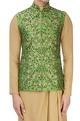 Green floral nehru jacket set