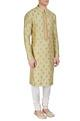 AQube by AMBER - MenPista green embroidered kurta