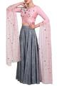 Powder pink blouse & grey lehenga