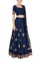 Shlok DesignNavy blue embroidered lehenga