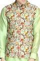 NAUTANKY - MenMulticolored bird print nehru jacket set