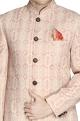 NAUTANKY - MenPeach embroidered raw silk sherwani