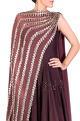 Ridhima BhasinBurgundy dual drape anarkali gown
