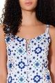 AnkitaWhite & blue drop waist dress