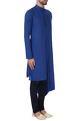 Lalit JalanBlue draped style silk kurta