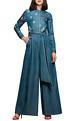 Shahin Mannan Blue slogan vintage jumpsuit