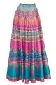 Siddhartha Bansal Orange & pink stripe dupion silk maxi skirt