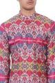 Multicolored ikkat printed muslin kurta