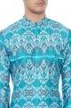 Blue ikat printed muslin kurta
