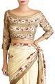 Nakul Sen Yellow chiffon embroidered sari with blouse