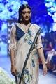 SVABeige & blue raw silk, organza & silk embroidered sari with shirt